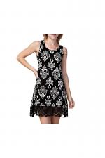 Sleeveless Print Dress in Black