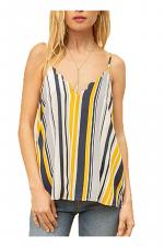 Scallop Edge V-Neck Multi Color Stripe Cami