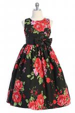 Little Girls Sleeveless Dress with Roses
