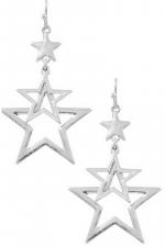 Layered Metal Star Drop Earrings