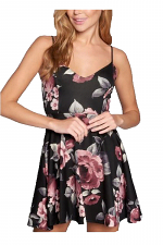 Floral Techno Lace Back Skater Dress