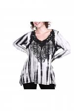 Long Sleeve Tie Dye Top With Lace Trim in Black