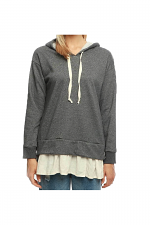 Faux Base Layer Hooded Sweat Top in Charcoal