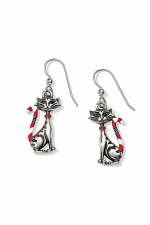 Candy Cane Cat Earrings