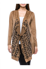 Suede Cardi With Aztec Print & Stone in Mocha