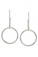 Urban Geometric Metal Hoop Drop Earrings