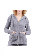 Berber Fleece Hoodie Jacket in Grey