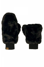 Soft Faux Fur Fuzzy Lined Flip Up Down Top Fingerless Mitten Gloves