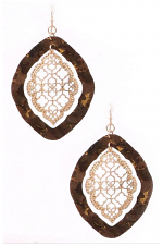 Metal Moroccan Cork Teardrop Earring