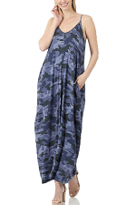 Camouflaged Cami Maxi Dress with Pockets