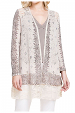 Sublimation Cardigan With Lace & Stones