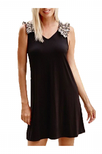 Shift Dress with Leopard Ruffle Shoulder