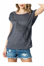 Drape Shoulder Top With Wing Print