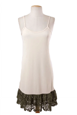 Plus Size Cami Slip With Lace in Olive