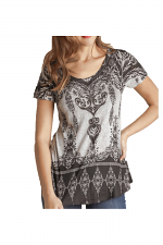Short Sleeve Top With Crystals in Heather Grey