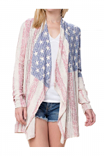 Cardigan With Flag Graphic & Stone Detail