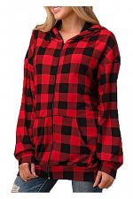 Long Sleeve Plaid Hoodie Jacket