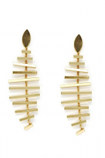 Fish Bone Metal Drop Earrings