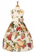 Little Girls Flower Print Sleeveless Dress