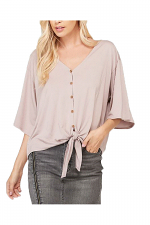 Bamboo Front Tie Button Down Top