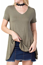 Short Sleeve Top with All-Over Stones
