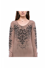 Basic Style Long Sleeve Top with Print & Stone