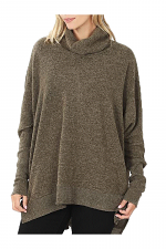 Brushed Melange Oversize Cowl Neck Sweater