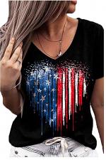 Heart Shaped Flag Print V Neck Casual T-Shirt