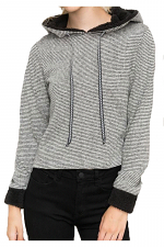 Fuzzy Contrast Stripe French Terry Crop Hoodie