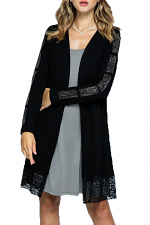 Long Cardigan with Lace Trim & Stone Detail