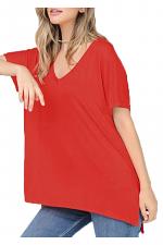 Basic Short Sleeve V Neck Boxy Fit Top