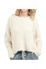 Long Sleeve Mohair Pullover Hoodie in Beige
