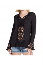Long Sleeve Top With Lace Ruffle in Black