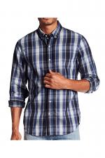 Jimmy Long Sleeve Herringbone Woven Shirt in Faded Ink