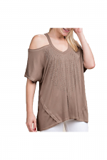Open Shoulder Top With Stones in Taupe