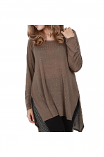 Long Sleeve top With Stones in Brown