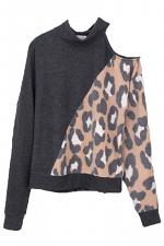 Brushed Leopard Print Cold Shoulder Sweater