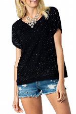 Short Sleeve Top with All Over Stones