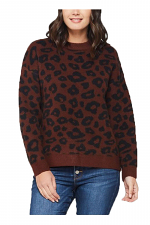 Wesley Dark Brown Black Animal Print Sweater