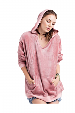 Hoodie Pull Over Tunic With Kangaroo Pocket in Mauve