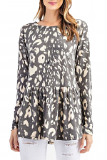 Animal Printed Long Sleeve Baby Doll Top