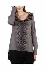 Long Sleeve Top With Lace Trim in Grey