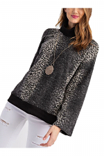 Brushed Abstract Animal Printed Long Sleeve Top