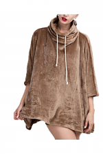 Fleece Pull Over Poncho in Mocha