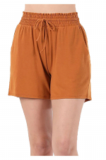 Drawstring Waist Paperbag Shorts with Pockets