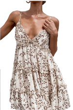 Tiered Ruffled Dress with Leaf Abstract Design