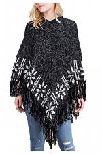 Sweater Poncho with Fringe