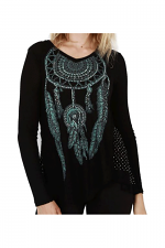 Long Sleep Knit Top With Print & Stone in Black
