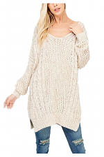 Knit Cross Back Side Slit Sweater Top