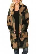 Camouflage Pattern Cardigan Sweater w/ Pockets